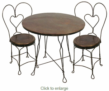 Ice Cream Parlor Set Table And 4 Chairs