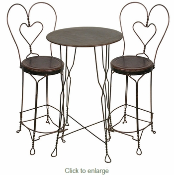 Ice Cream Parlor Set - Tall Bistro Table and 2 Chairs  sc 1 st  Direct From Mexico : bistro table and stools set - pezcame.com