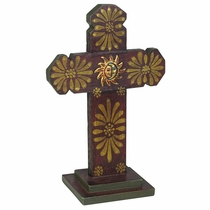 Indented Painted Wood Cross with Base