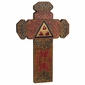 Indented Painted Wood Folk Art Cross