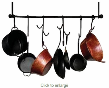 Iron Kitchen Hanging Bar with 6 Pot Hooks