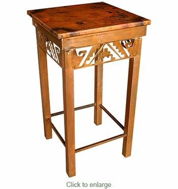 Iron Petroglyph Side Table with Copper Top - Large