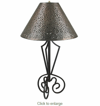 Iron Tri Base Table Lamp with Extra Punched Tin Shade