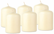 "Ivory Lantern Candles - 2-1/2"" x 2"" Inch Dia.  - Set of 6"