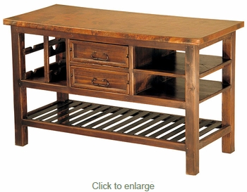 Kitchen Island with Iron Slat Shelf and Copper Top