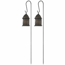 Lantern Stakes Wrought Iron - Set of 2