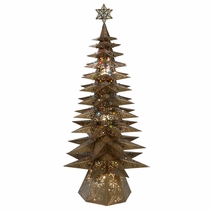 "Large 11-Tier Lighted Aged Tin Star Christmas Tree - 69.5"" Tall"