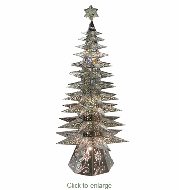 Large 11-Tier Lighted Natural Tin Star Christmas Tree - 69.5