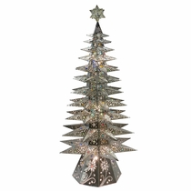 "Large 11-Tier Lighted Natural Tin Star Christmas Tree - 69.5"" Tall"