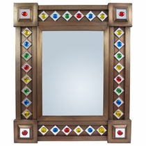 Large Aged Tin & Glass Gem Wall Mirror