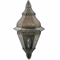 Large Aged Tin Tapered Wall Lantern