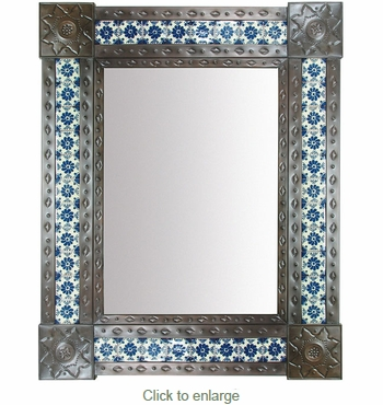 Large Aged Tin & Mexican Tile Mirror - 31