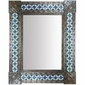 "Large Aged Tin & Mexican Tile Mirror - 31"" x 25"""