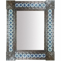 Large Aged Tin & Tile Mirror