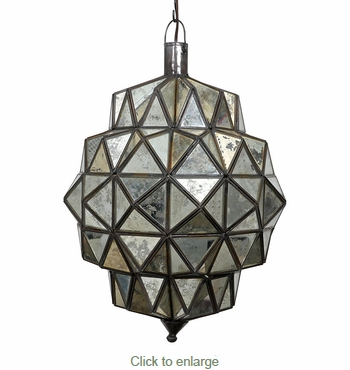 Large Antiqued Mirror Glass Hanging Light Fixture