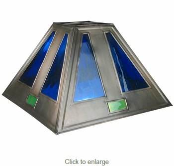 Large Blue Glass U0026 Tin Lamp Shade