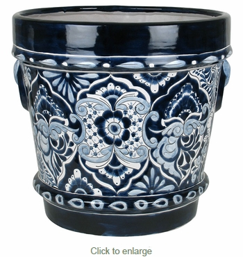 Large Blue & White Talavera Handled Flower Pot