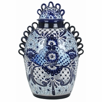 Large Blue-White Talavera Queen's Vase
