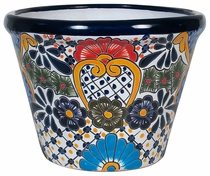Large Bordered Talavera Flower Pot