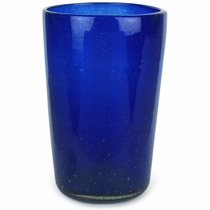 Large Cobalt Blue Mexican Bubble Glass Drink Glass - Set of 4