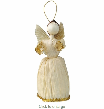Large Corn Husk Angel Ornaments - Set of 3