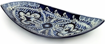 Large Curved Blue & White Talavera Platter