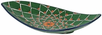 Large Curved Peacock Talavera Serving Platter