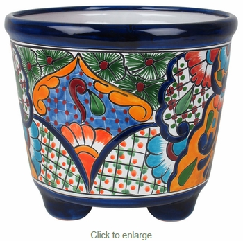 Marvelous Large Footed Mexican Talavera Pottery Planter