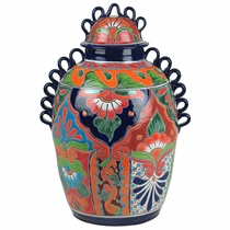 Large Handled Talavera Vase with Lid