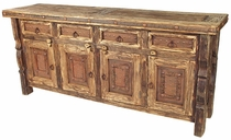 Large Iron Banded Ox Yoke Buffet with Iron Accents