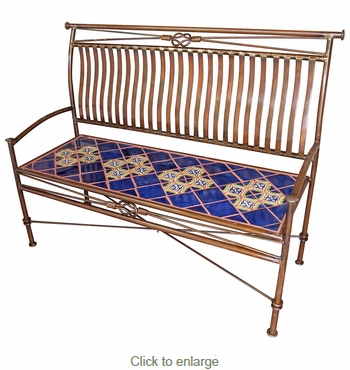 Large Iron Bench with Talavera Tiles - Blue