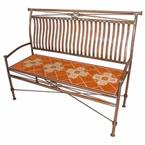 Large Iron Bench with Talavera Tiles - Orange