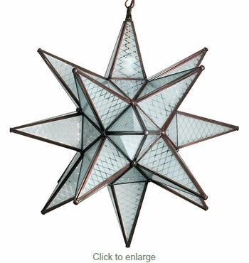 Large Maya Frosted Glass Hanging Star Light