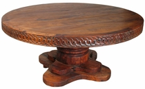 Large Mesquite Dining Table With Distressed Trunk Base