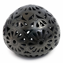 Large Mexican Black Clay Carved Luminaria