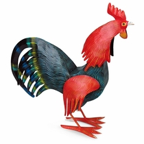 Large Mexican Painted Tin Rooster