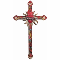 Large Mexican Painted Wood Cross with Peace Doves and Tin Heart