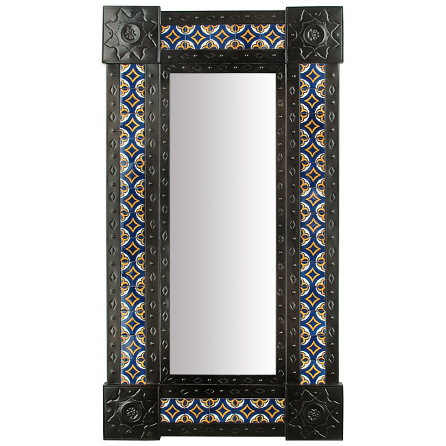 "Narrow Wall Mirror large narrow aged tin & tile mexican wall mirror - 20"" x 36.5"""