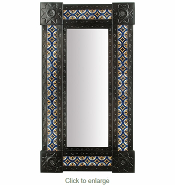 Large Narrow Aged Tin & Tile Mexican Wall Mirror - 20