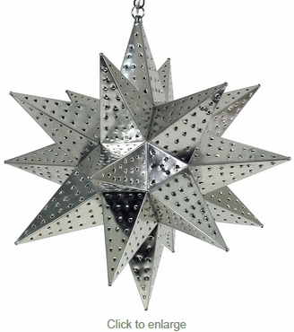 Large Natural Punched Tin Star Light