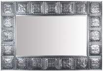 Large Natural Tin Rectangular Mirror