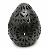 Large Oaxacan Black Clay Egg Luminaria