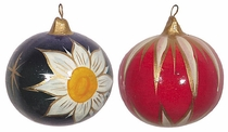 Large Painted Clay Christmas Balls - Box of 2