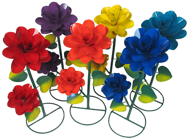Perfect Large Painted Metal Garden Flowers