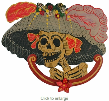 Large Painted Tin Catrina Wall Decoration