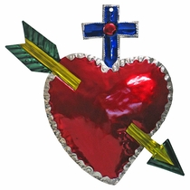 Large Painted Tin Cross Heart Ornaments - Box of 2
