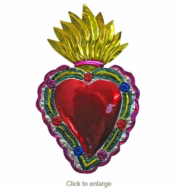 Large Painted Tin Flaming Heart Ornaments - Box of 2