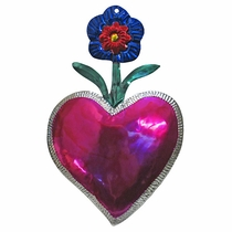 Large Painted Tin Flower Heart Ornaments - Box of 2
