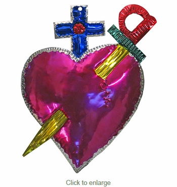 Large Painted Tin Heart Ornament - Sword and Cross - Box of 2