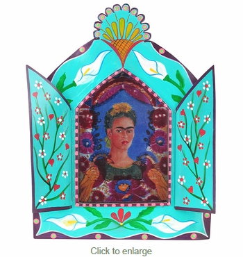 Large Painted Tin Nicho with Frida Kahlo Print